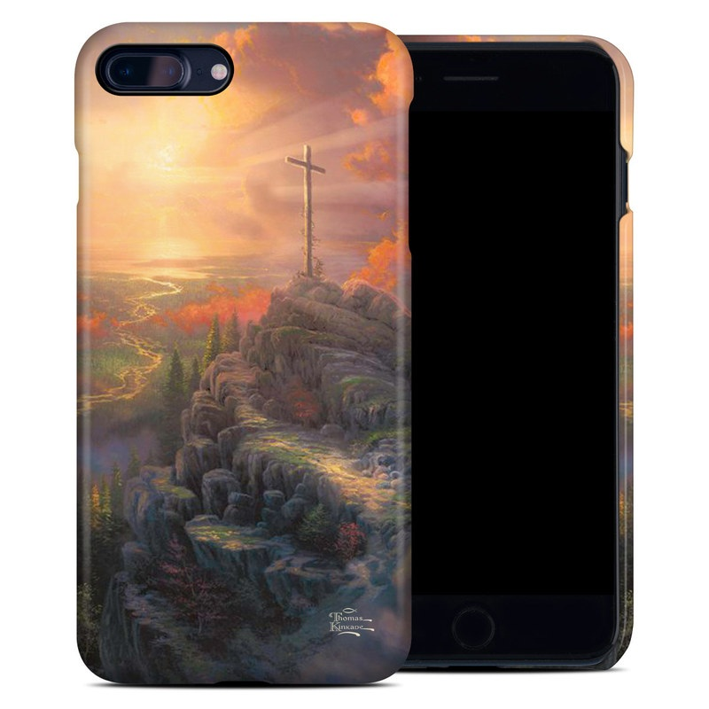 iPhone 8 Plus Clip Case design of Painting, Natural landscape, Sky, Cross, Landscape, Visual arts, Art, Symbol, Acrylic paint with black, gray, green, red colors
