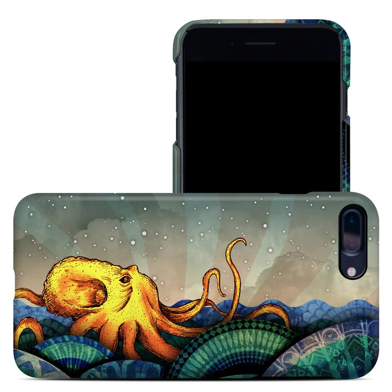 iPhone 8 Plus Clip Case design of Illustration, Fractal art, Art, Cg artwork, Sky, Organism, Psychedelic art, Graphic design, Graphics, Octopus with black, gray, blue, green, red colors