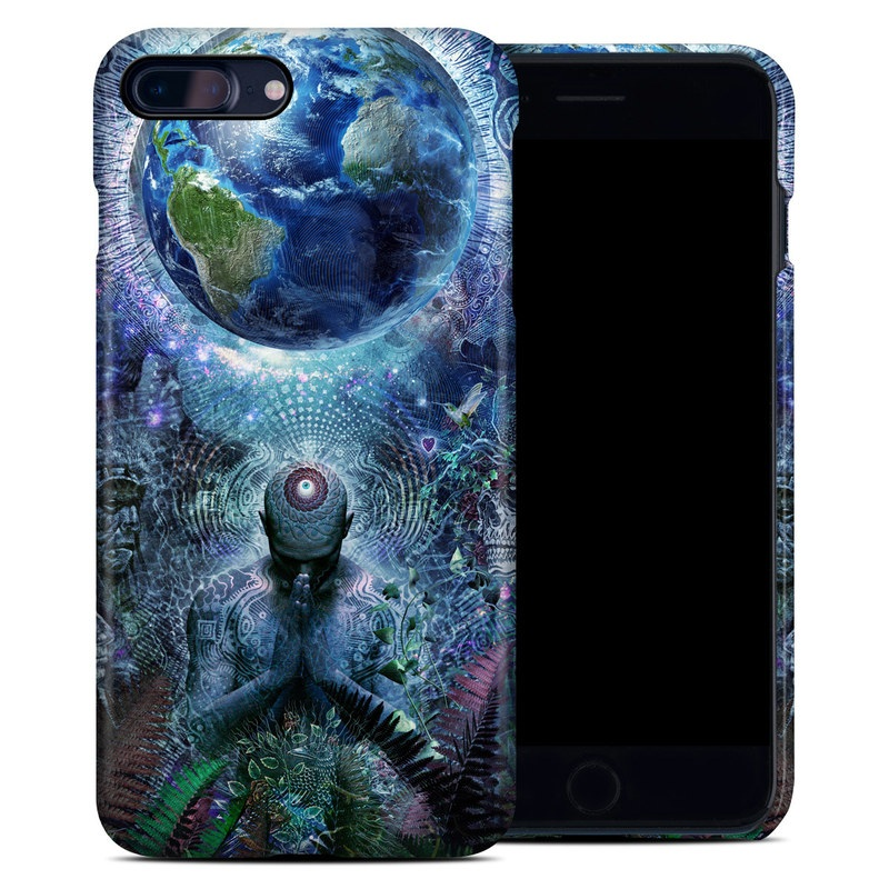 iPhone 8 Plus Clip Case design of Psychedelic art, Fractal art, Art, Space, Organism, Earth, Sphere, Graphic design, Circle, Graphics with blue, green, gray, purple, pink, black, white colors
