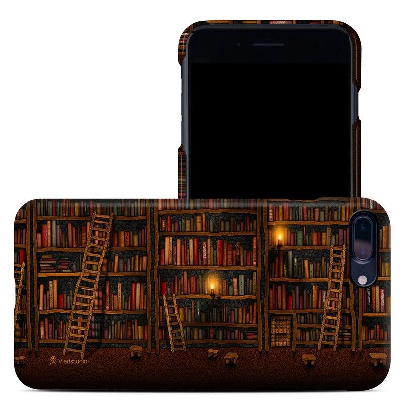 iPhone 8 Plus Clip Case design of Shelving, Library, Bookcase, Shelf, Furniture, Book, Building, Publication, Room, Darkness with black, red colors