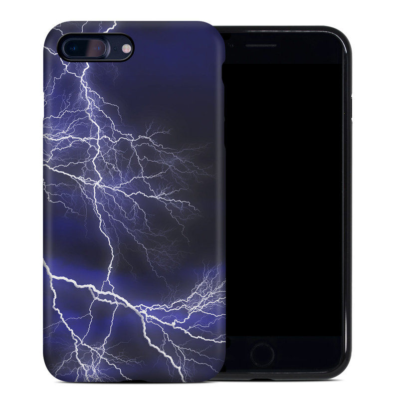 iPhone 8 Plus Hybrid Case design of Thunder, Lightning, Thunderstorm, Sky, Nature, Electric blue, Atmosphere, Daytime, Blue, Atmospheric phenomenon with blue, black, white colors