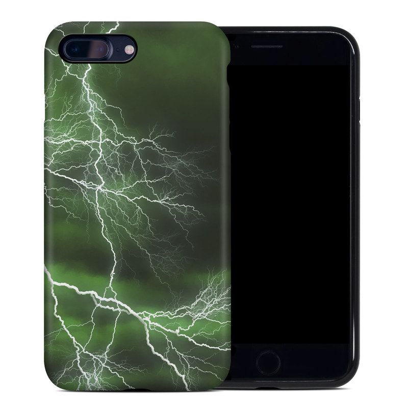 iPhone 8 Plus Hybrid Case design of Thunderstorm, Thunder, Lightning, Nature, Green, Water, Sky, Atmosphere, Atmospheric phenomenon, Daytime with green, black, white colors