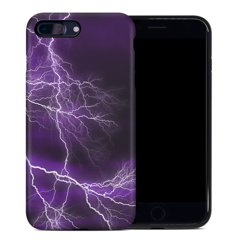 iPhone 8 Plus Hybrid Case design of Thunder, Lightning, Thunderstorm, Sky, Nature, Purple, Violet, Atmosphere, Storm, Electric blue with purple, black, white colors