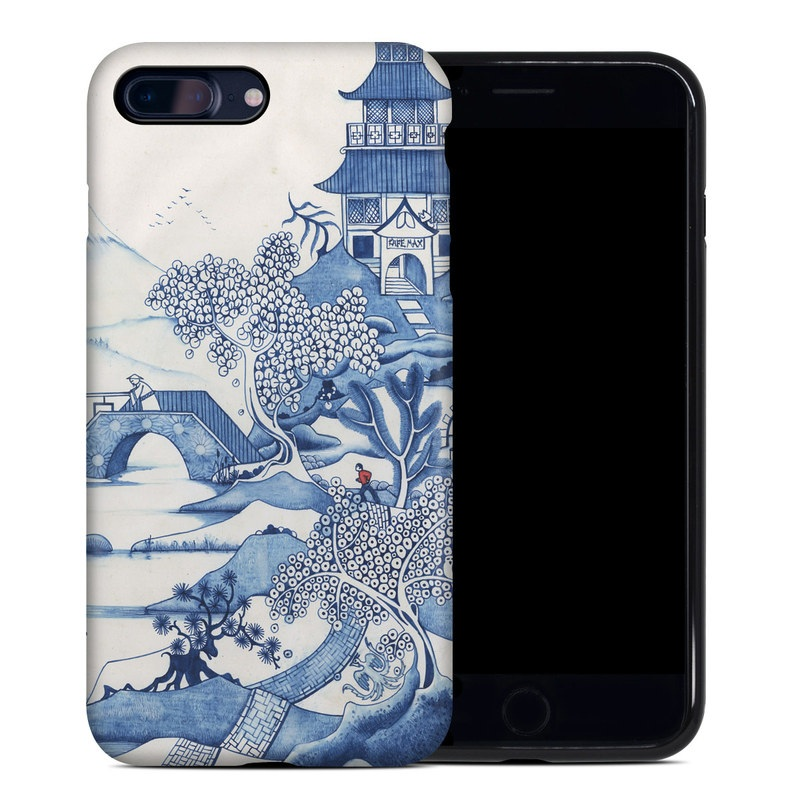 iPhone 8 Plus Hybrid Case design of Blue, Blue and white porcelain, Winter, Christmas eve, Illustration, Snow, World, Art with blue, white colors