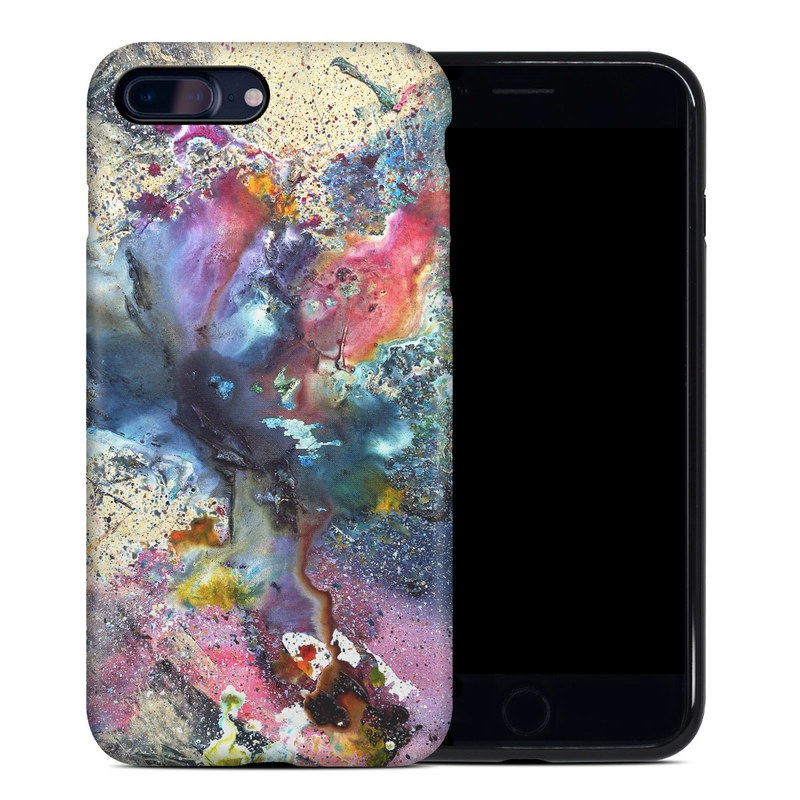 iPhone 8 Plus Hybrid Case design of Watercolor paint, Painting, Acrylic paint, Art, Modern art, Paint, Visual arts, Space, Colorfulness, Illustration with gray, black, blue, red, pink colors