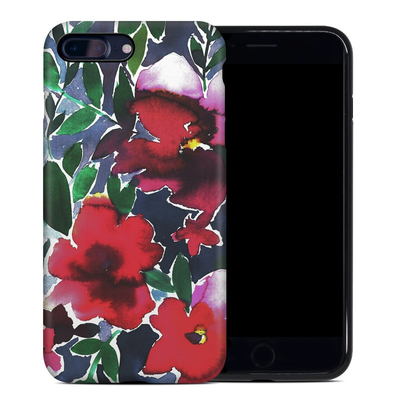 iPhone 8 Plus Hybrid Case design of Flower, Petal, Red, Plant, Pattern, Pink, Purple, Flowering plant, Botany, Design with red, green, pink, blue colors