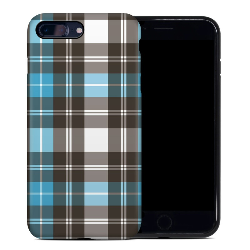 iPhone 8 Plus Hybrid Case design of Plaid, Pattern, Tartan, Turquoise, Textile, Design, Brown, Line, Tints and shades with gray, black, blue, white colors