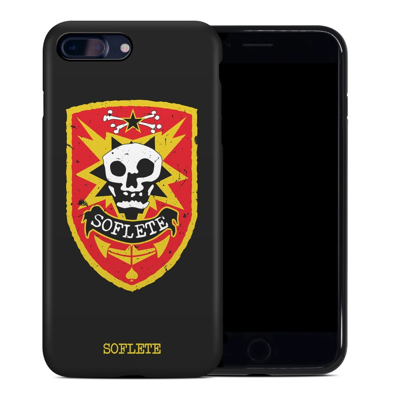 iPhone 8 Plus Hybrid Case design of Logo, Emblem, Skull, Crest, Bone, Symbol, Font, Graphics, Illustration with black, white, red, yellow colors