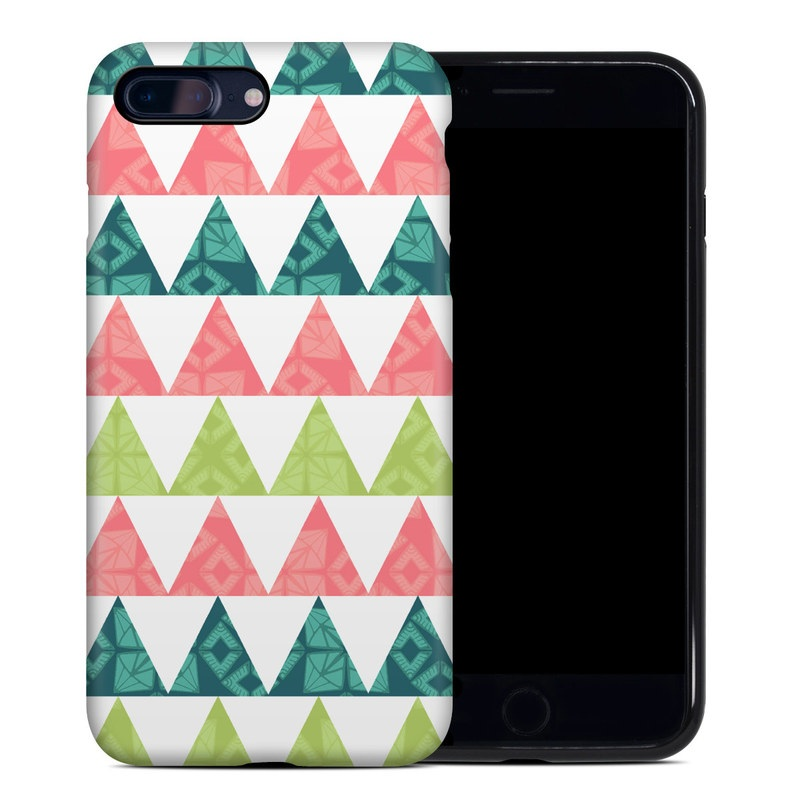 iPhone 8 Plus Hybrid Case design of Green, Pattern, Line, Design, Textile, Symmetry with white, green, pink colors