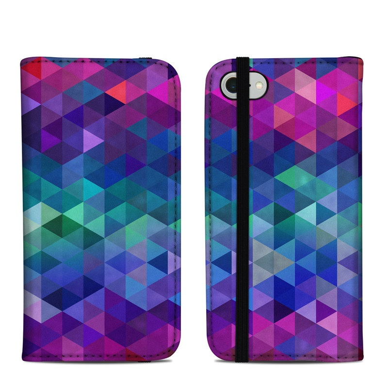 iPhone 8 Folio Case design of Purple, Violet, Pattern, Blue, Magenta, Triangle, Line, Design, Graphic design, Symmetry with blue, purple, green, red, pink colors