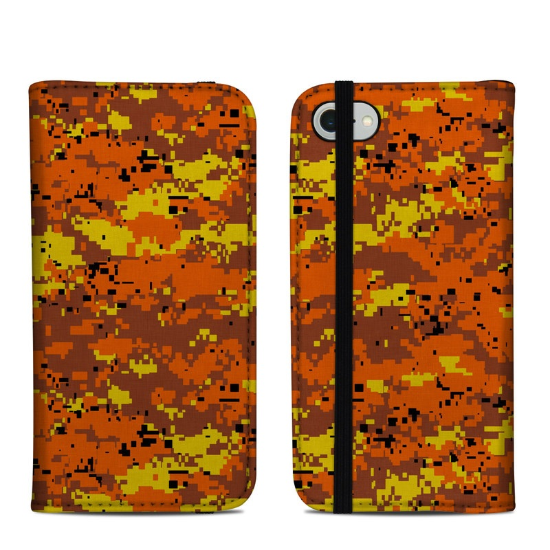 iPhone 8 Folio Case design of Orange, Yellow, Leaf, Tree, Pattern, Autumn, Plant, Deciduous with red, green, black colors