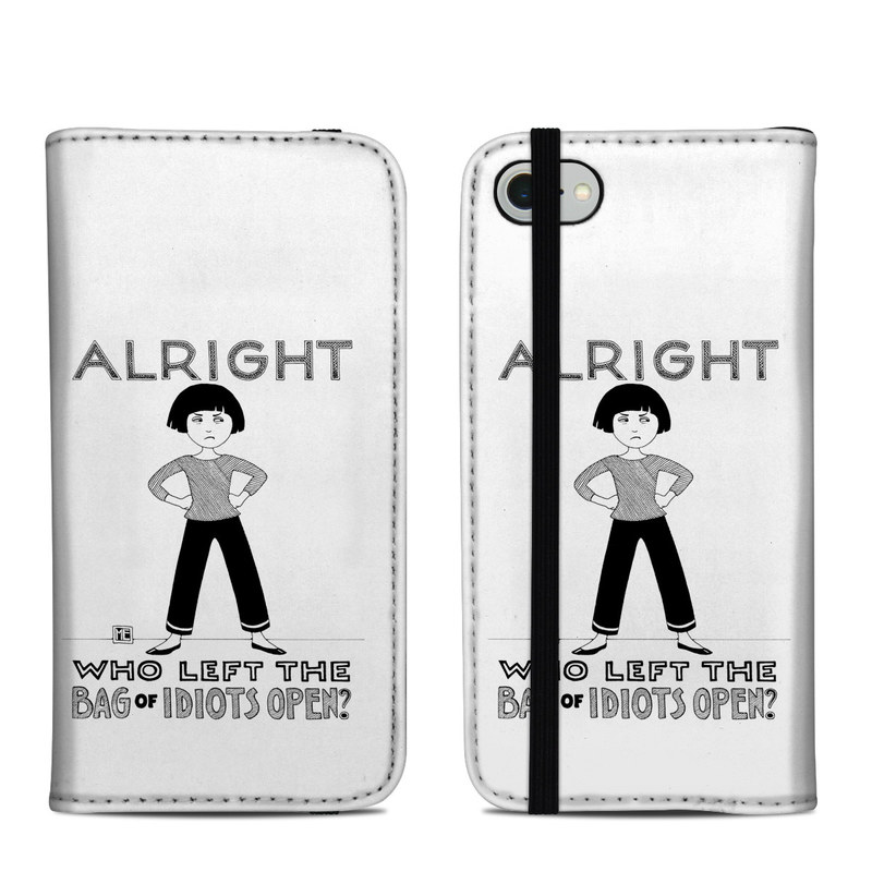 iPhone 8 Folio Case design of Font, Poster, Illustration with black, white colors