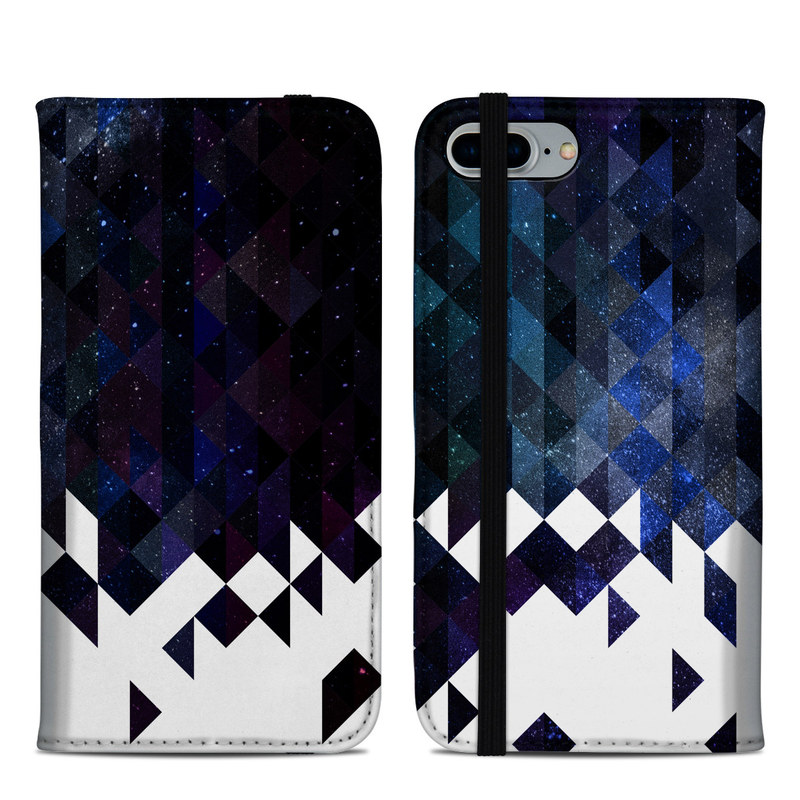 iPhone 8 Plus Folio Case design of Text, Pattern, Graphic design, Font, Purple, Design, Line, Triangle, Logo, Graphics with black, blue, white colors