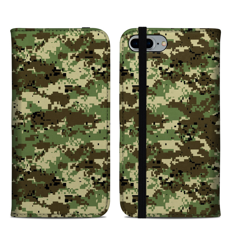 iPhone 8 Plus Folio Case design of Military camouflage, Pattern, Camouflage, Green, Uniform, Clothing, Design, Military uniform with black, gray, green colors