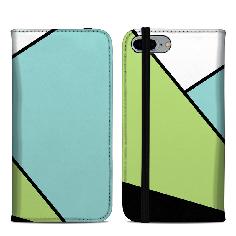 iPhone 8 Plus Folio Case design of Green, Line, Blue, Triangle, Design, Parallel, Pattern, Graphic design, Slope with white, black, green, blue colors