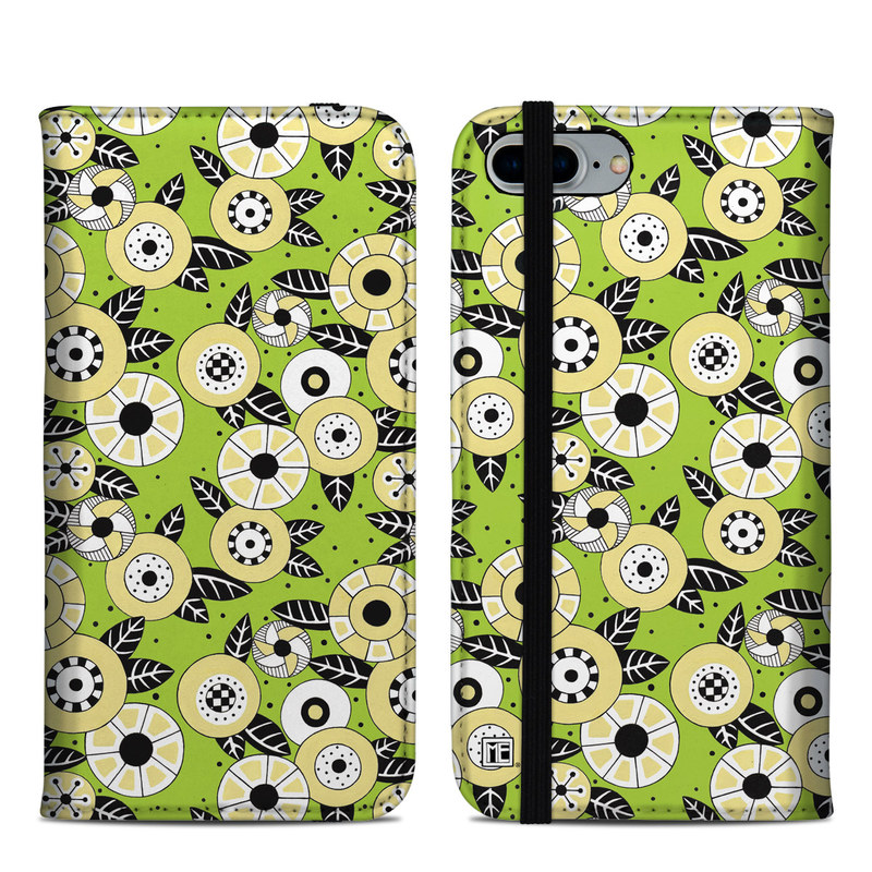iPhone 8 Plus Folio Case design of Pattern, Illustration, Design, Circle, Plant, Wildflower with gray, green, black, pink, white, yellow colors