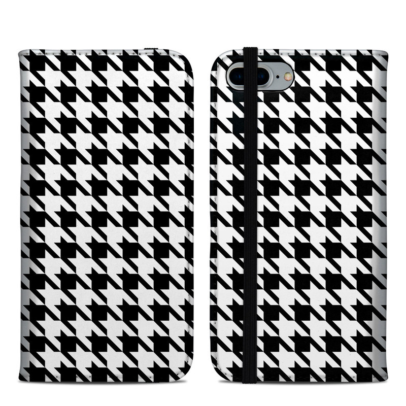 iPhone 8 Plus Folio Case design of Pattern, Black-and-white, Line, Monochrome, Design, Monochrome photography, Textile, Parallel, Style with black, white, gray colors