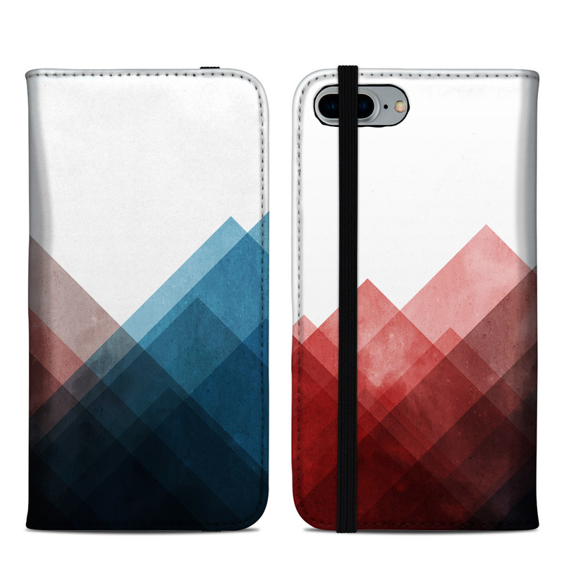 iPhone 8 Plus Folio Case design of Blue, Red, Sky, Pink, Line, Architecture, Font, Graphic design, Colorfulness, Illustration with red, pink, blue colors
