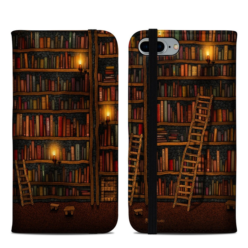 iPhone 8 Plus Folio Case design of Shelving, Library, Bookcase, Shelf, Furniture, Book, Building, Publication, Room, Darkness with black, red colors