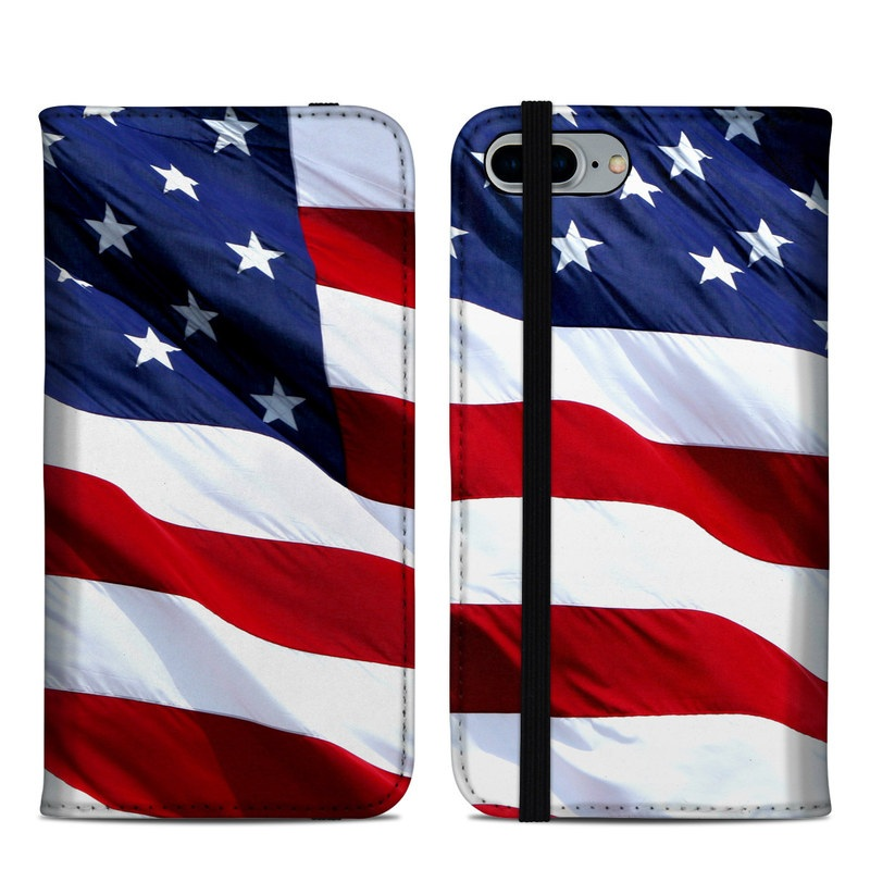 iPhone 8 Plus Folio Case design of Flag, Flag of the united states, Flag Day (USA), Veterans day, Memorial day, Holiday, Independence day, Event with red, blue, white colors