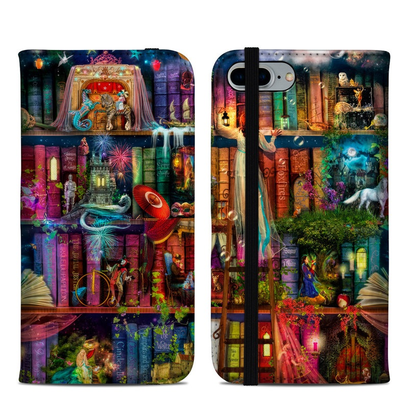 iPhone 8 Plus Folio Case design of Painting, Art, Theatrical scenery with black, red, gray, green, blue colors