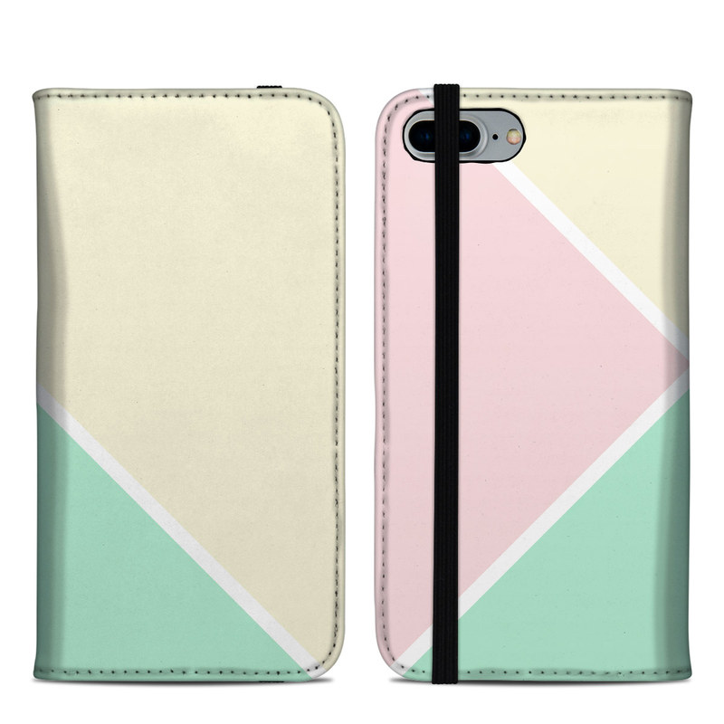 iPhone 8 Plus Folio Case design of Green, Aqua, Turquoise, Blue, Pink, Yellow, Line, Teal, Pattern, Design with yellow, pink, green colors