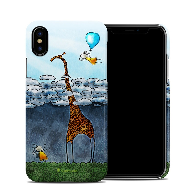 iPhone XS Clip Case design of Giraffe, Sky, Tree, Water, Branch, Giraffidae, Illustration, Cloud, Grassland, Bird with blue, gray, yellow, green colors