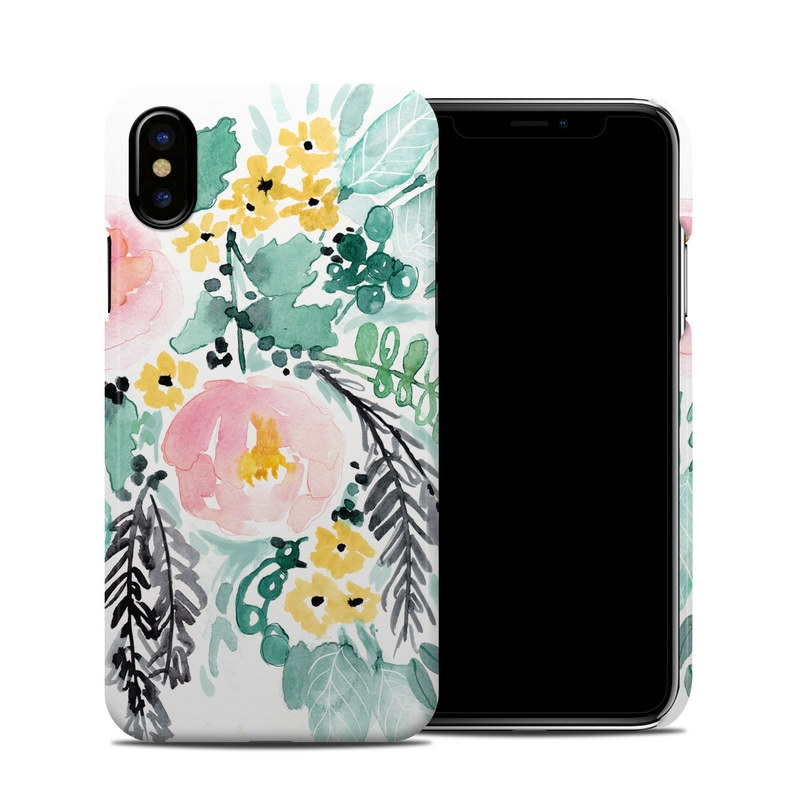iPhone XS Clip Case design of Branch, Clip art, Watercolor paint, Flower, Leaf, Botany, Plant, Illustration, Design, Graphics with green, pink, red, orange, yellow colors