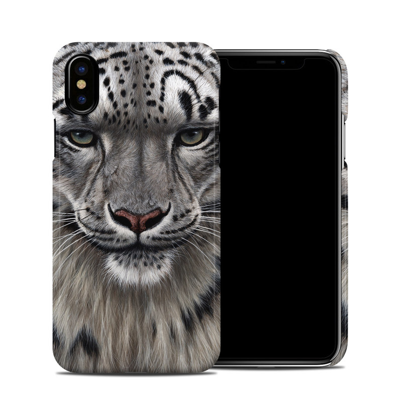 iPhone XS Clip Case design of Mammal, Wildlife, Terrestrial animal, Vertebrate, Whiskers, Bengal tiger, Snow leopard, Felidae, Snout, Big cats with gray, black, red, green colors