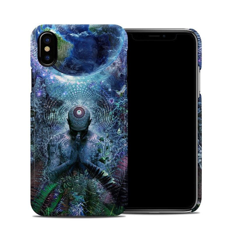 iPhone XS Clip Case design of Psychedelic art, Fractal art, Art, Space, Organism, Earth, Sphere, Graphic design, Circle, Graphics with blue, green, gray, purple, pink, black, white colors