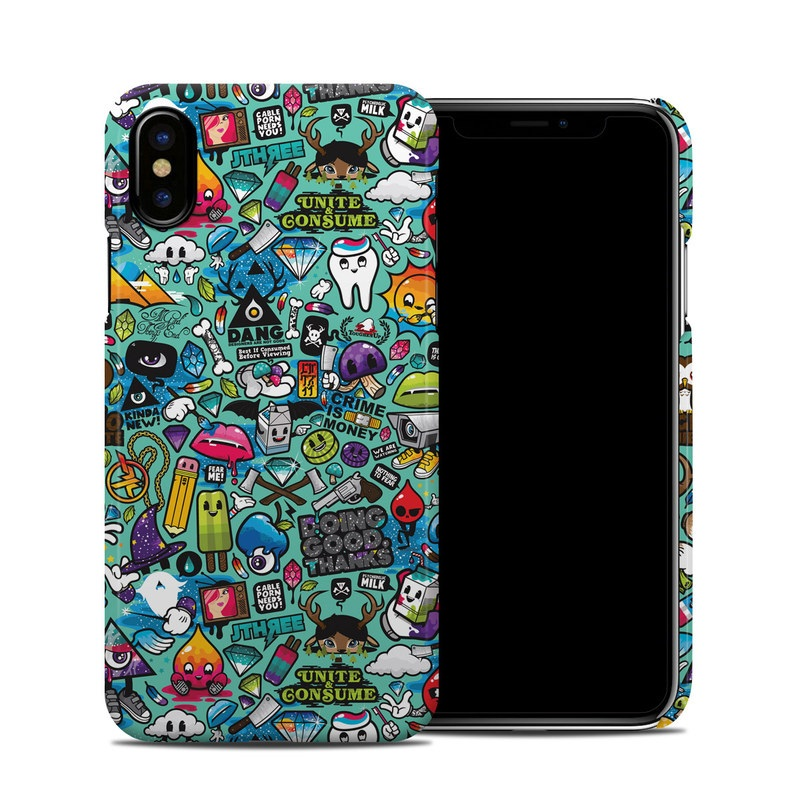 iPhone XS Clip Case design of Cartoon, Art, Pattern, Design, Illustration, Visual arts, Doodle, Psychedelic art with black, blue, gray, red, green colors