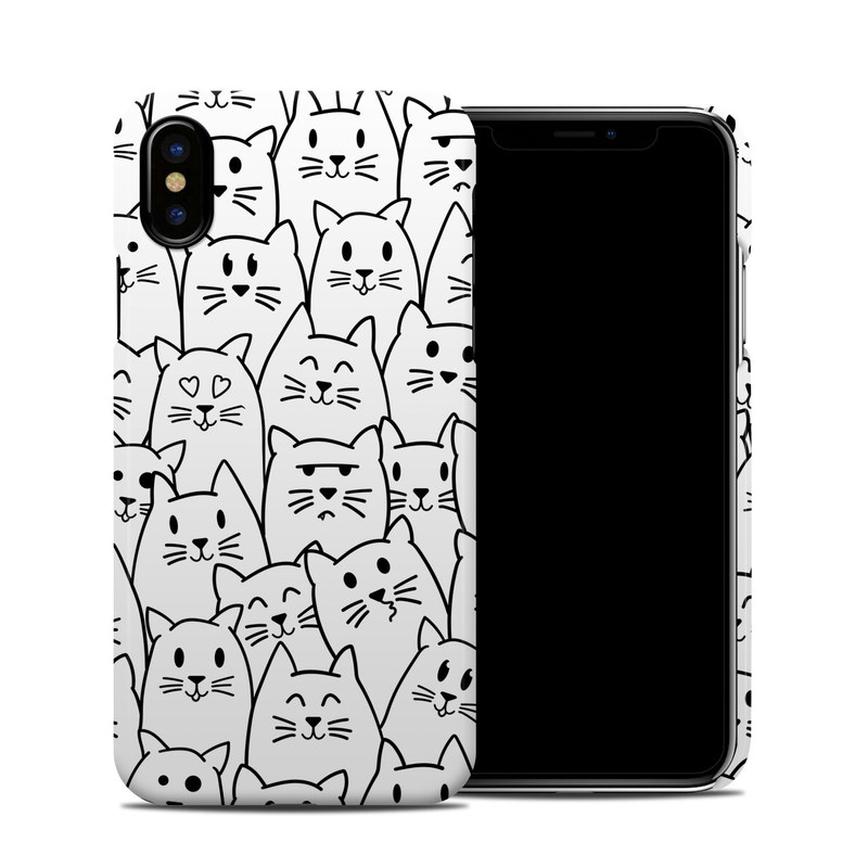 iPhone XS Clip Case design of White, Line art, Text, Black, Pattern, Black-and-white, Line, Design, Font, Organism with white, black colors