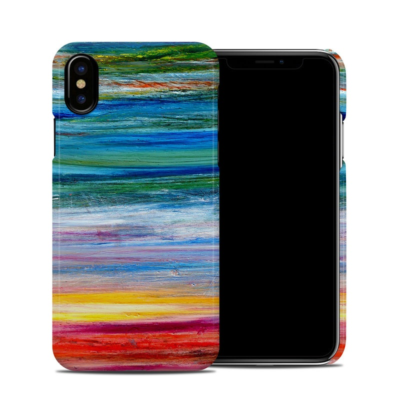 iPhone XS Clip Case design of Sky, Painting, Acrylic paint, Modern art, Watercolor paint, Art, Horizon, Paint, Visual arts, Wave with gray, blue, red, black, pink colors