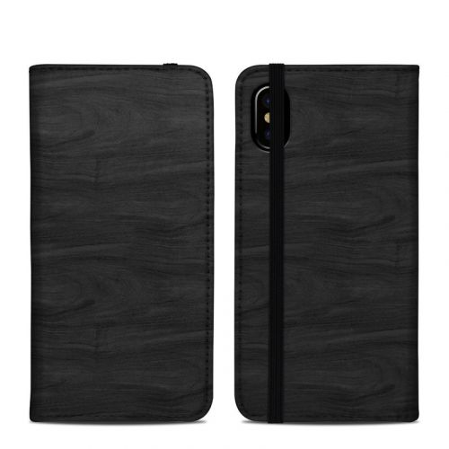 Black Woodgrain iPhone XS Folio Case