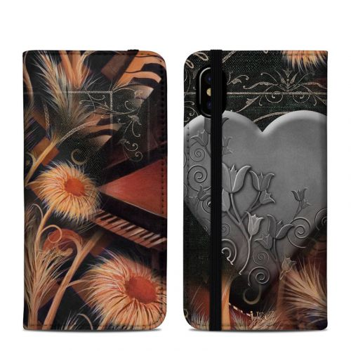 Black Lace Flower iPhone X Folio Case