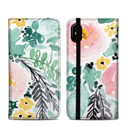 Blushed Flowers iPhone XS Folio Case