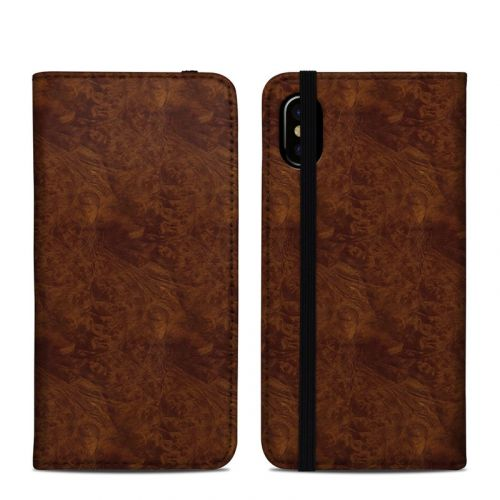 Dark Burlwood iPhone XS Folio Case
