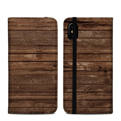 Stripped Wood iPhone X Folio Case