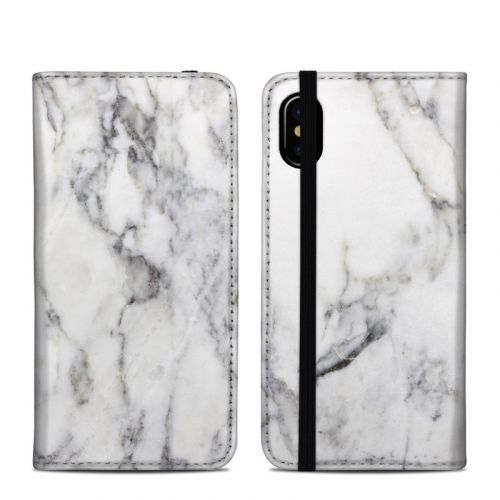 White Marble iPhone XS Folio Case