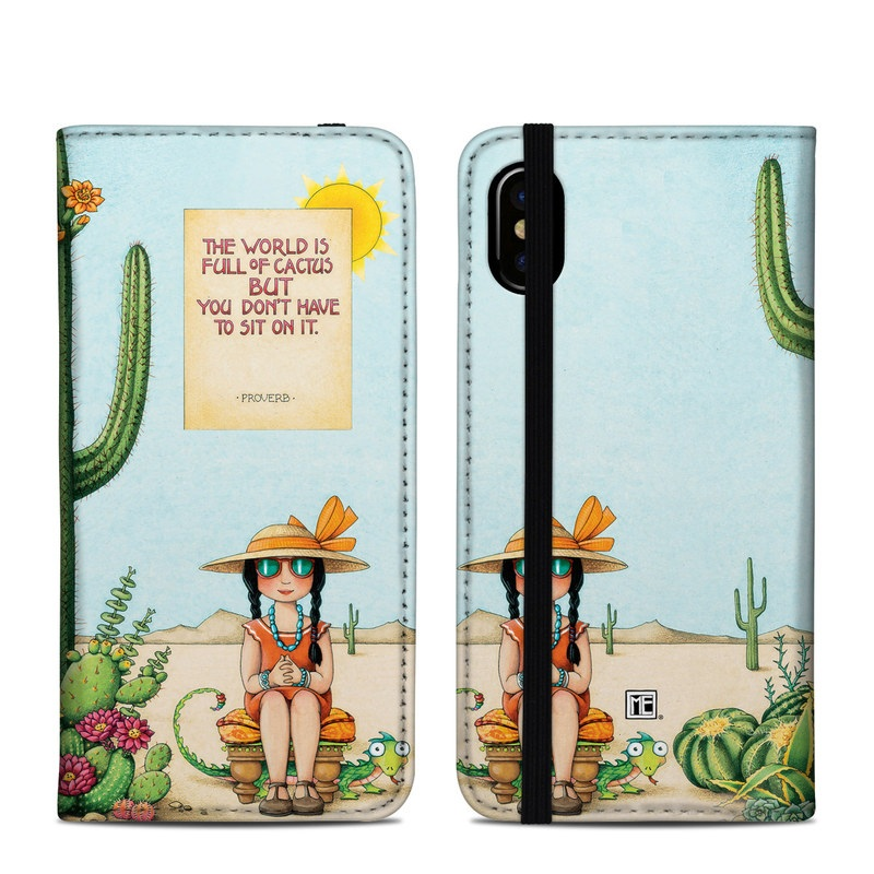 iPhone XS Folio Case design of Cartoon, Cactus, Illustration, Animated cartoon, Plant, Vegetable, Fictional character, Art with green, yellow, pink, orange, brown colors