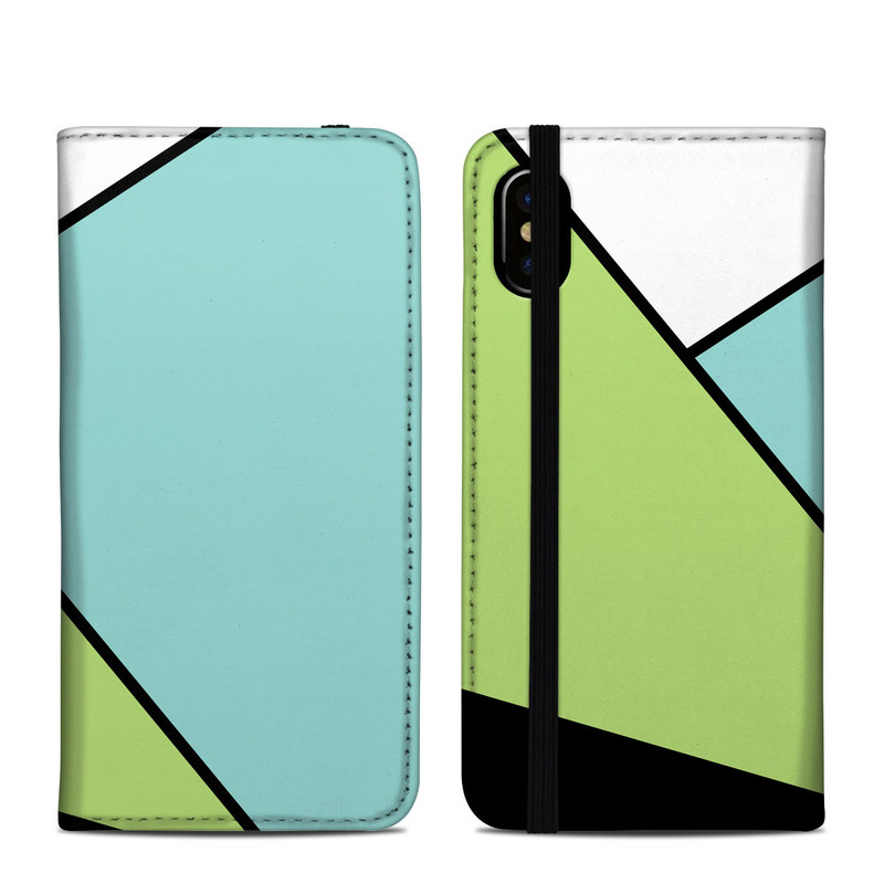 iPhone XS Folio Case design of Green, Line, Blue, Triangle, Design, Parallel, Pattern, Graphic design, Slope with white, black, green, blue colors