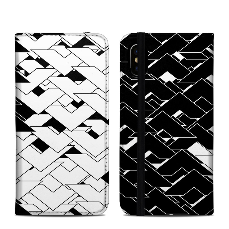 iPhone XS Folio Case design of Pattern, Black, Black-and-white, Monochrome, Monochrome photography, Line, Design, Parallel, Font with black, white colors