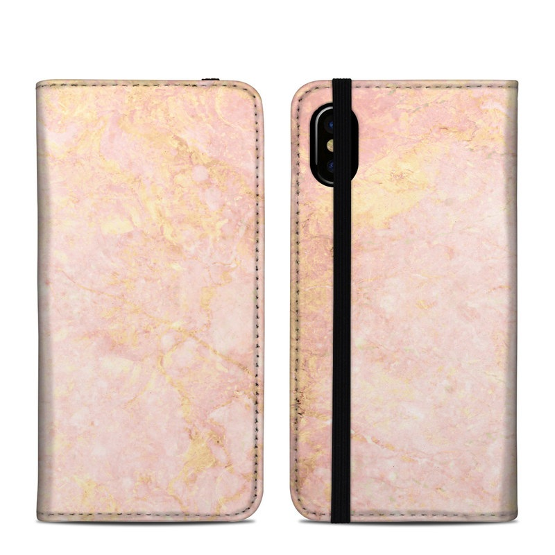 iPhone XS Folio Case design of Pink, Peach, Wallpaper, Pattern with pink, yellow, orange colors