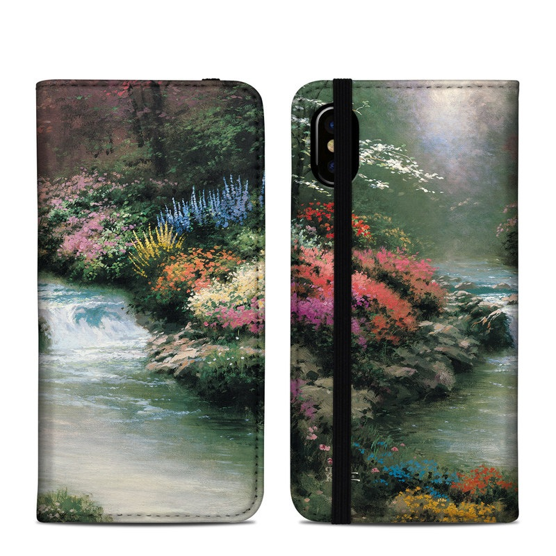 iPhone XS Folio Case design of Body of water, Natural landscape, Nature, Stream, Watercourse, River, Water, Water resources, Painting, Mountain river with black, gray, green, red, blue colors