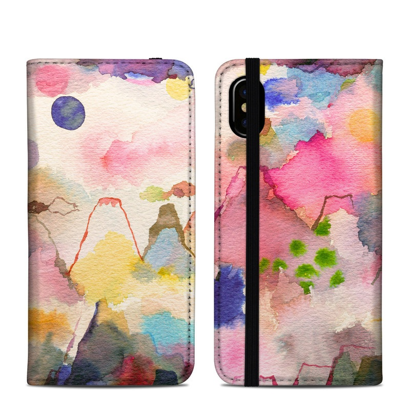 iPhone XS Folio Case design of Watercolor paint, Flower, Textile, Painting, Art, Plant, Pattern, Visual arts, Floral design, Paint with white, pink, red, yellow, green, blue, black, orange colors