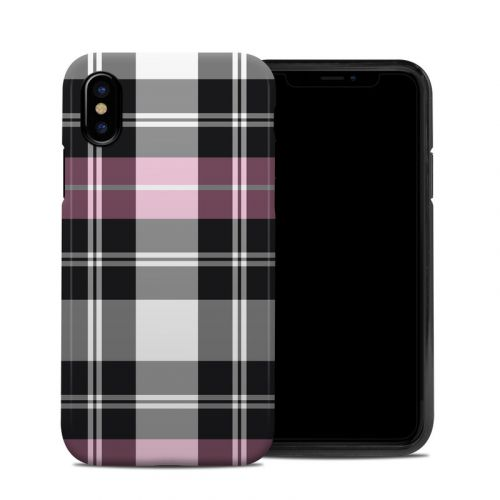 Pink Plaid iPhone XS Hybrid Case