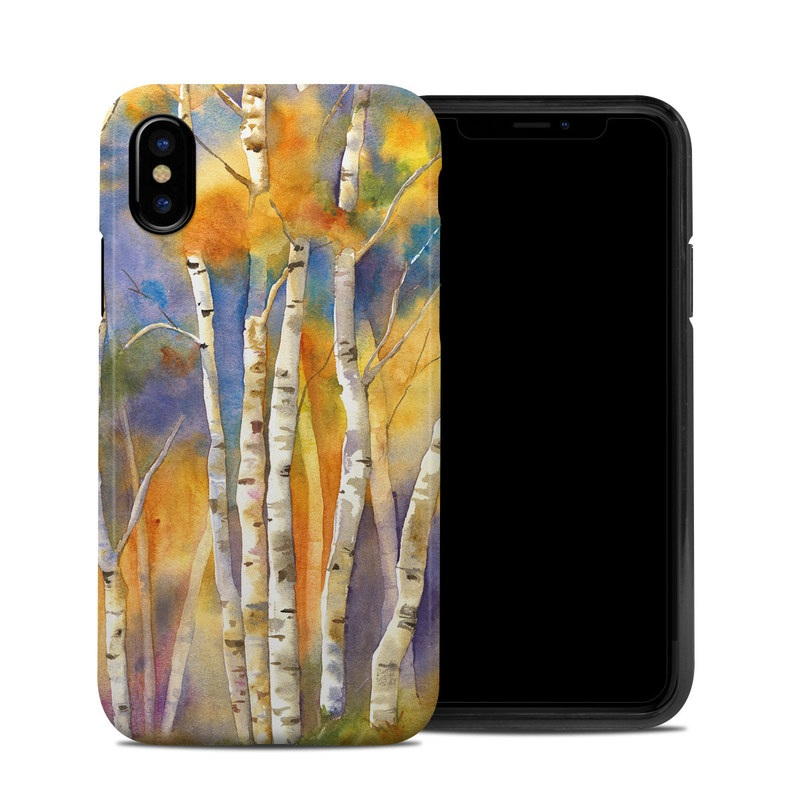 iPhone XS Hybrid Case design of Canoe birch, Watercolor paint, Tree, Birch, Woody plant, Painting, Plant, Birch family, Paint, Trunk with orange, yellow, green, white, purple, blue colors