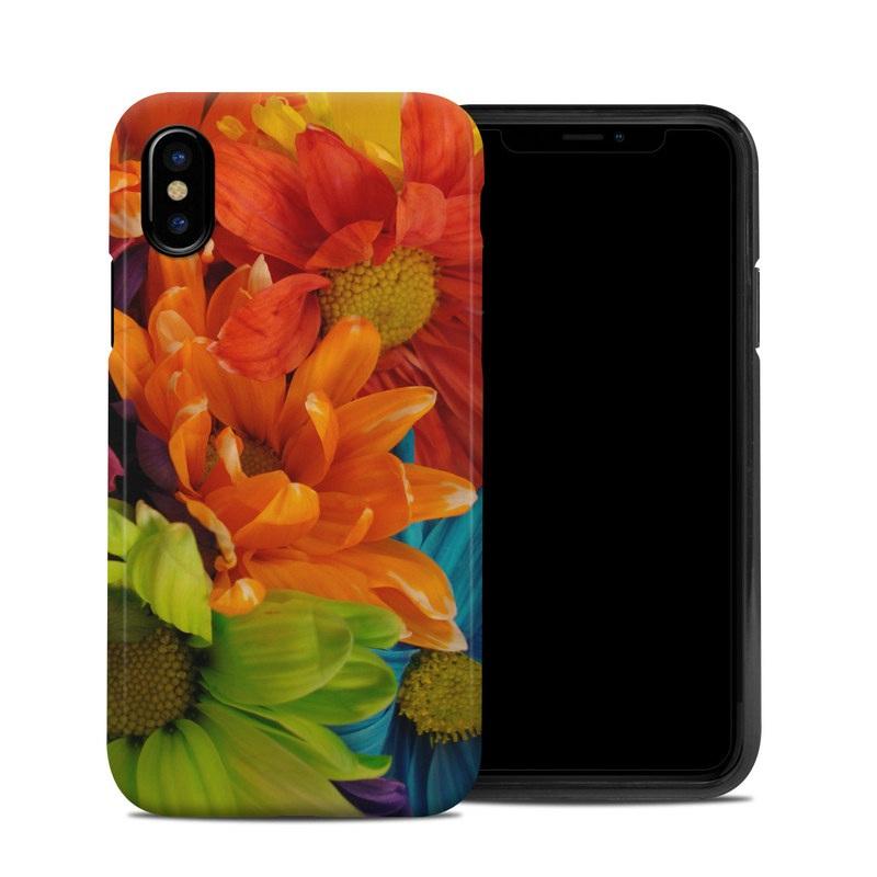 iPhone XS Hybrid Case design of Flower, Petal, Orange, Cut flowers, Yellow, Plant, Bouquet, Floral design, Flowering plant, Gerbera with red, green, black, blue colors
