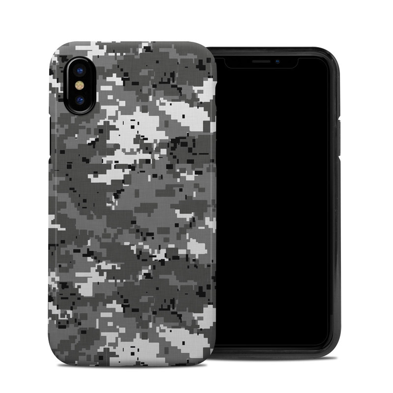 iPhone XS Hybrid Case design of Military camouflage, Pattern, Camouflage, Design, Uniform, Metal, Black-and-white with black, gray colors