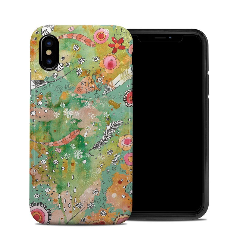 iPhone XS Hybrid Case design of Pattern, Design, Art, Textile, Visual arts, Circle, Illustration, Wildflower, Floral design with blue, red, orange, green, pink, white colors